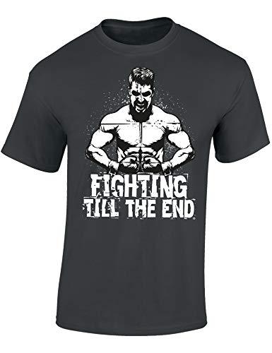 T-Shirt: Fighting Till The end - Kampfsport Geschenke für Damen & Herren - Kick-Boxen - Fitness - Bodybuilding - Gym - Training - Sport-Bekleidung - Thai - Savate - MMA Martial - Street (S)