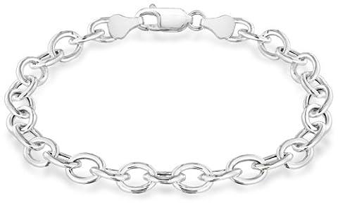 Tuscany Silver Sterling Silver 150 Oval Belcher Charm Bracelet of 20cm/8