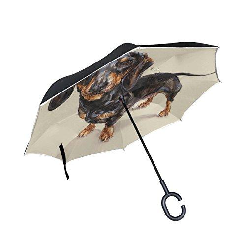 alaza Dackel Hund seitenverkehrt Regenschirm Double Layer Winddichte Rückseite Faltbarer Regenschirm für Auto mit C-förmigem Henkel -