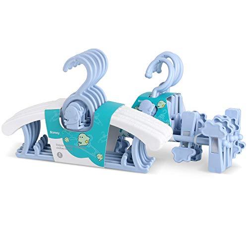 BAMNY Perchas Infantiles para Bebé Niños Ajustables de Plástico Antideslizantes para Ropa Resistentes (10 Azul)