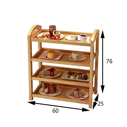 Scolapiatti legno massello stenditoio,cremagliera di immagazzinaggio pavimento a tre livelli mensola rack piatto con ruota spinta pranzo auto servizio carrello da salotto-l