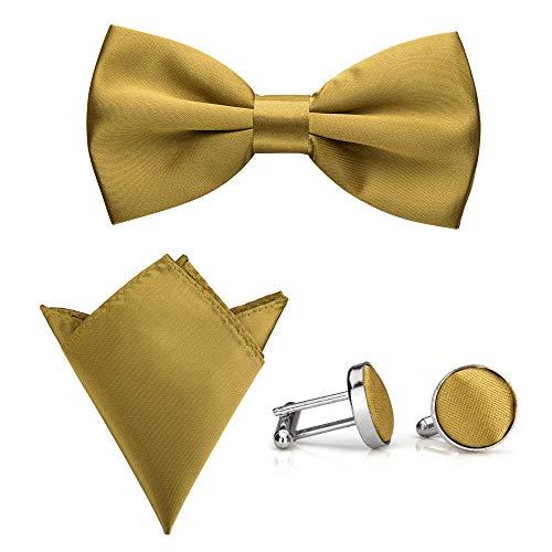 Rusty Bob - Fliege mit Einstecktuch und Manschettenknöpfe | verschiedene Farben | 3er Set (Gold) Gold Bow Tie