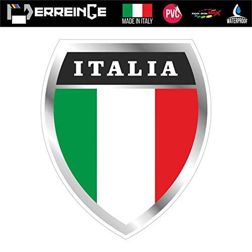ERREINGE Sticker ITALIEN Aufkleber geformtes PVC für Abziehbild, Wand, Auto, Motorrad, Sturzhelm, Wohnmobil, Portable, Roller - cm 10
