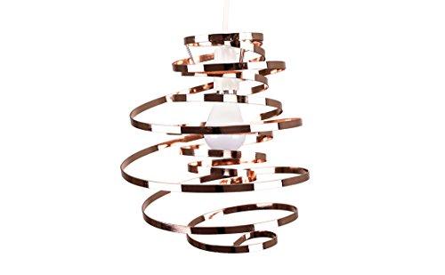 Minisun - Contemporary Copper Metal Double Ribbon Spiral Swirl Ceiling Light Pendant