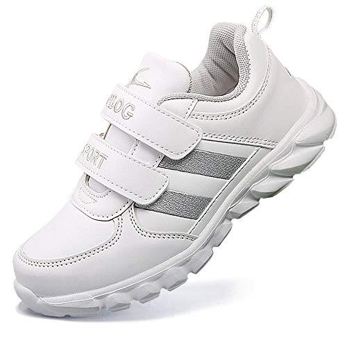 HSNA Zapatillas Blancas Niña Velcro Zapatos Bajos para NiñosGris 36 EU