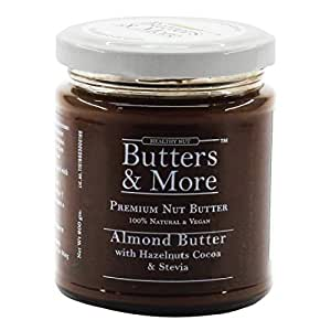 Butters & More Vegan Almond Butter with Hazelnuts, Dark Cocoa & Stevia (200G). Keto & Diabetic Friendly.