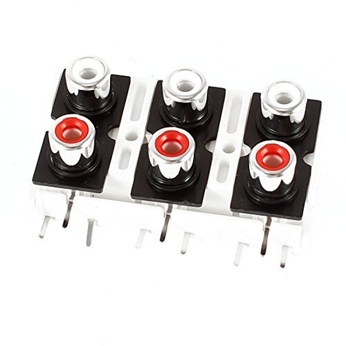 PCB mount AV Concentric Outlet 6 RCA Jack White Board - Rca-jack Pcb Mount