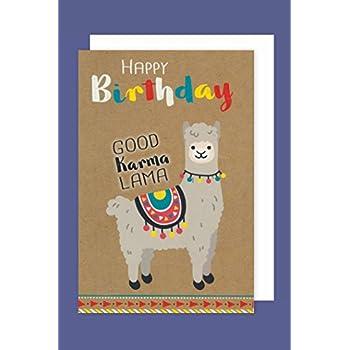 Lama/Alpaka Karte: Happy Birthday (Geburtstagskarte mit