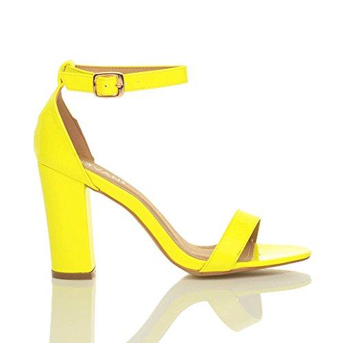 Donna tacco alto blocco fibbia scarpe punta aperta sandali con cinturino taglia Giallo neon