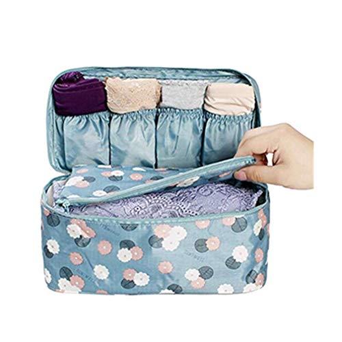Hengsong Bleu Fleurs Trousse de Toilette Portable Voyage Sous-Vêtements Sac de Rangement Compartiments Multiples Cosmétique Multifonctionnel Stockage