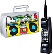 NUOBESTY 2pcs 80s 90s Party Decorations Inflatable Telephone Radio Retro Theme Party Decoration Props KTV Toys