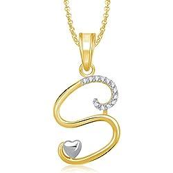 MEENAZ Jewellery Gold Plated 'S' Letter Pendant for Girls Locket Alphabet Heart Pendant for Women Men Unisex in American Diamond Crystal Jewellery Set for Women- Chain Pendant 326