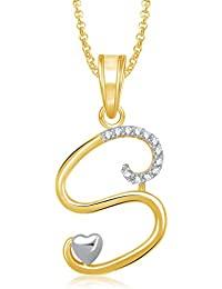 MEENAZ Crystal Brass Gold Plated Pendant Necklace For Women