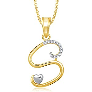 MEENAZ Jewellery Gold Plated 'S' Letter Pendant for Girls Locket Alphabet Heart Pendant for Women Men Unisex in American Diamond Crystal Jewellery Set for Women- Chain Pendant 326