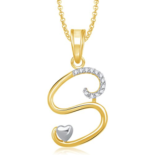 Amaal 's' Alphabet Silver Brass Pendant With Chain Necklace For Women And Men