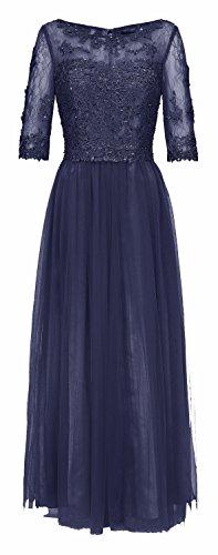 Juju Christine langes Abendkleider Ballkleider chiffon Langarm 1539 Taubenblau Marineblau