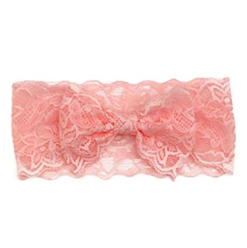Baby Haar Zubehör Auxma Baby Spitze Big Schleife Haarband Head Wrap Band Zubehör (Rosa) (Strass Zubehör Großhandel)