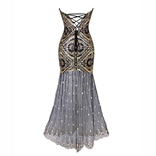 Babeyond Damen Bustier Maxi Kleid Abschlussball Kostüm Brautjunfer Langes Frauen Flapper Abbildung 3