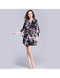 YAzNdom BAICHUANG Vestido de Pavo Real de Seda Fundas de Batas de baño de Pijamas señoras