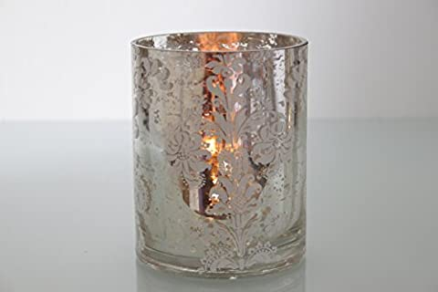 Gisela Graham Gold Silver Mirror Tealight Damask Glass Nite Light Candle Holder Vase