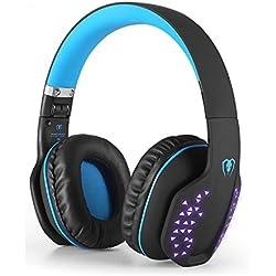 Beexcellent Auriculares Intrauditivos Bluetooth, Auriculares Estéreo Inalámbrico Plegable Bluetooth 4.1 de Alta Fidelidad Reducción de Ruido con Efecto LED, Incorporado Micrófono y Modo Alámbrico para PC Ordenador Portátil Tableta TV Teléfonos Celulares (Azul)