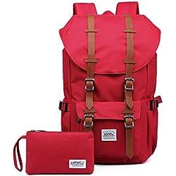 """KAUKKO Sac à dos loisir Compartiment pour 15"""" ordinateur portable 22 Litres Rouge (paquet de 2)"""
