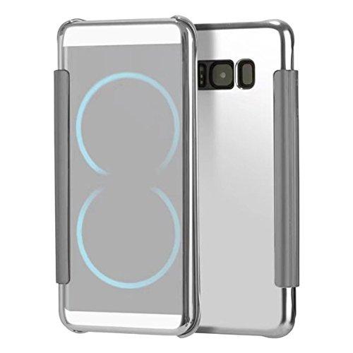 SainCat Coque Coque Galaxy S9 Miroir Portefeuille, Ultra Slim Coque Protecteur en Cuir PU et Plastique Rigide Flip Anti Choc Coque pour Samsung Galaxy S9-Argent