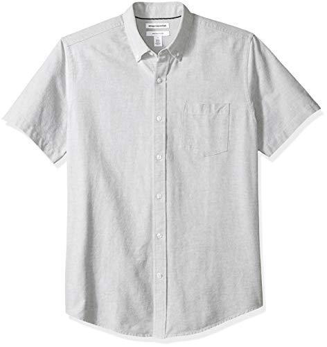 Amazon Essentials Regular-Fit Short-Sleeve Solid Pocket Oxford Shirt Freizeithemd, Grau (Grey Gre), US M (EU M) -