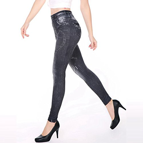 Weyeei Donne Jeans Boyfriend Leggings Retrò Jeggings Grigio