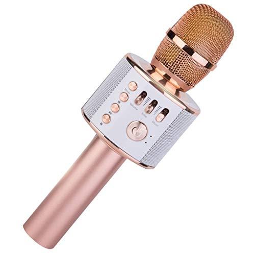 H.eternal Bluetooth Karaoke 3 in 1 Mikrofon tragbare drahtlose dynamisches Mikrofon mit Lautsprecher für die Aufnahme von Sprach und Gesang Party Podcast Familie mit Android iPhone (Rotgold) - Karaoke Familie