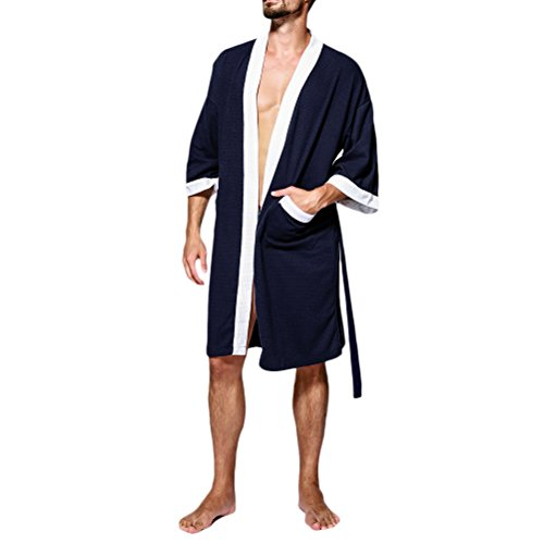 Zhhlaixing Unisex Uomo Donne Cotton Dressing Gown Super Soft Full Length Accappatoio Pajamas,Simple&Comfy Navy blue