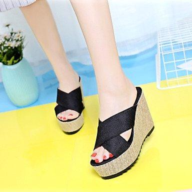RUGAI-UE Sommer Mode Frauen Sandalen Schuhe Casual PU Komfort Heels Outdoor Wandern, Schwarz, EU/US7.5 38/UK5.5/CN 38 Black