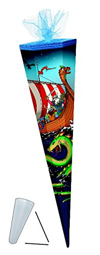 Schultüte - Wikinger 85 cm - mit Tüllabschluß - mit / ohne Kunststoff Spitze - Zuckertüte Seefahrer Schiff Wikingerschiff Jungen