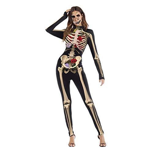 Damen Skelett Halloween Kostüm Sexy Attraktiv Charmant Bequemer Body mit Rückendruck für Halloween Party Karneval - Muster - 1 / (Attraktive Kostüm)