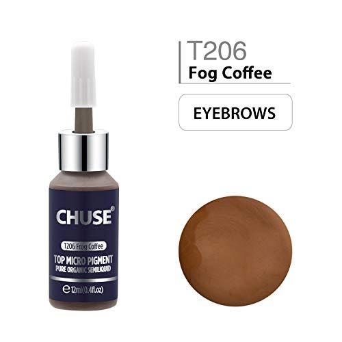 CHUSE T206 Café de brouillard Couleur cosmétique permanente d'encre de tatouage de maquillage de micro-colorant de Microblading SGS passé, DermaTest 12ml (0.4fl.oz)