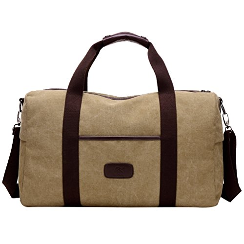 MissFox Herren Retro Canvas Umhängetasche Handtasche Groß Crossbody Bag Multifunktionen für Reisen Übung Khaki