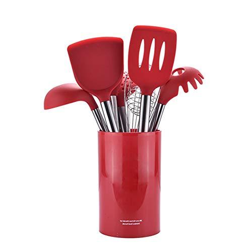 TOPofly Ensemble d'ustensiles de Cuisine,Ustensiles de Cuisine en Silicone avec Pot de Rangement 8pcs Roug