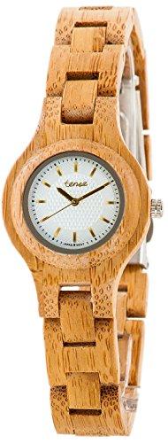 Holzuhr TENSE Womens Pacific Premium Damen-Uhr L7509B-WG - Nat&uumlrliches Bambusholz L7509B-WG