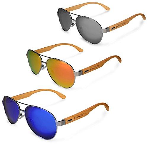 36a095d48a83 Navaris Aviator UV400 Bamboo Sunglasses - Unisex Wooden Optics Glasses -  Classic Wood Shades Women Men - Eyewear with Case Polarized Lenses