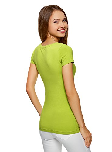 oodji Ultra Damen Tailliertes T-Shirt Basic Grün (6B00N)