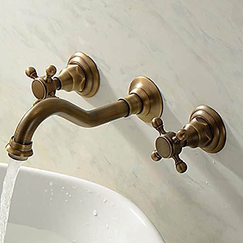 Durable Bad Waschtischarmatur Vintage europäischen Stil Badarmatur Dreiloch/zwei Griffe Messing antik praktisch - Delta-badewanne-griffe