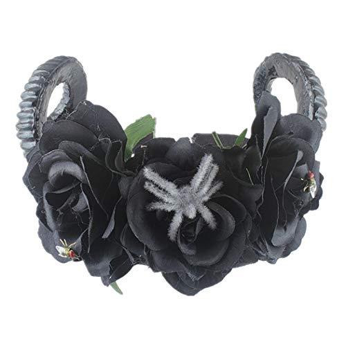 Joyibay Halloween Stirnband Fashion Faux Flower Ox Horn Neuheit Haarband Party Stirnband