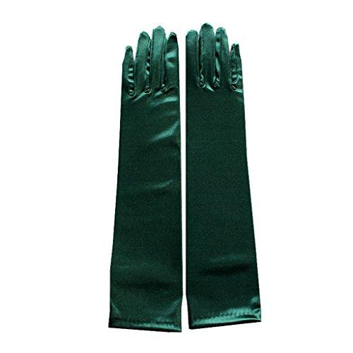(Frauen Satin unten Elbow Abend Party Grün lange Hochzeit Handschuhe für Braut/Prom)
