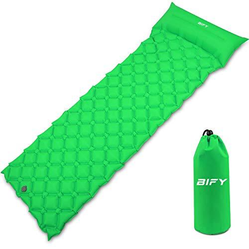 BIFY Isomatte Camping Schlafmatte Ultraleicht Kleines Packmaß. Aufblasbare Luftmatratze für Outdoor Camping, Reise,Trekking und Backpacking (Grün mit Kissen)