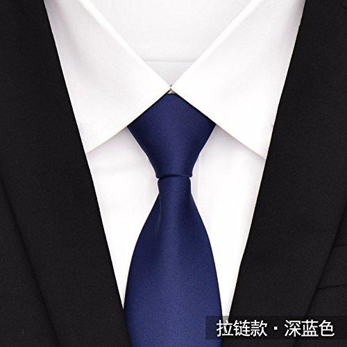 Gentlee tiegli uomini la cravatta è la versione coreana di colore solido zipper collezione di cravatte blu nero per estrarlo dalla marea automatico 8cm, blu scuro