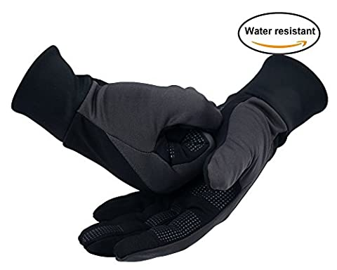 OZERO Bike Gloves for Men, Warm Glove for Smart Phone Texting with Non-slip Silicone Gel - Hand Warmers - Windproof and Waterproof for Running, Cycling, Riding, Workout - Black