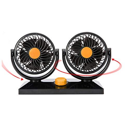 DOLDT1 12 V / 24 V Auto Klimaanlage Doppel Fan Tragbare Ventilateur Mini Fan Stille Rotierenden Auto Luftkühlung Fan Gebläse Tragbare Mini Fan (Color : 24v orange) -