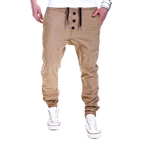 JYJM Herren Hosen Jogginghose Pluderhosen Latzhosen Jogger Dance Sportwear Baggy(Khaki Size:L)