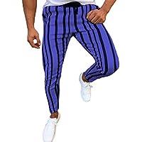junkai Pantalones De Rayas Cónicas Retro Vintage para Hombre M-3XL