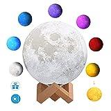 3D Mondlicht lampe, 3D Mondlampe mit 7 Farben Touch Control USB wiederaufladbare Nachtlicht für Kinder Baby Schlafzimmer Coffee Bar Party Geschenk Dekoration, 10CM